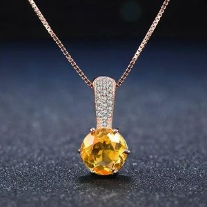 Natural Citrine & Silver Necklace 1400001525